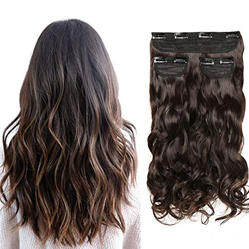 Extension Clip Capelli Ricci Mossi Clip in Hair 3 Ciocche Lunghi 50cm Posticci Finti Full Head per Donna Estensioni Effetto Naturale 190g, Marrone Scuro