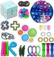 フィジットのおもちゃセット、子供や大人のための格安感のフィジットのおもちゃのパック、金大理石のメッシュストレスボール&より多くのフィジット玩具 (Color : Round Tie Dye - Blue)