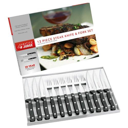 Judge iv42 Lot de 12 Set de 6 Couteaux à Steak et fourchettes, Acier Inoxydable, Noir/Argent, 35,2 x 24.0 x 3.0 cm