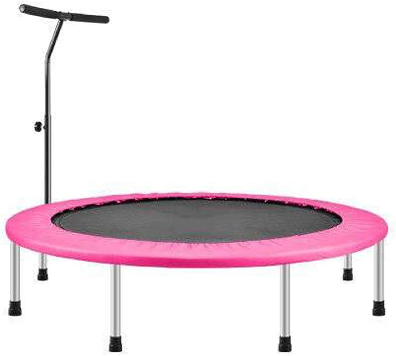Mini Trampoline Adjustable armrests Portable Trampoline Elastic Fitness mats Stable and Durable Quiet Pink Maximum Load 150kg