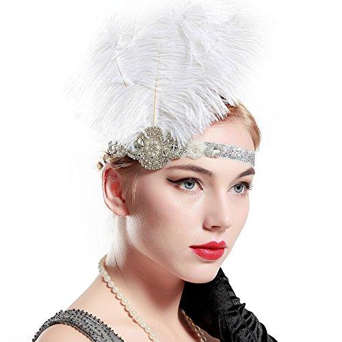 BABEYOND Bandeau Cristal Bandeau Plume Flapper Headband Gatsby Art des Années 1920 Cérémonies Accessoires de Cheveux Bandeaux Plume, Blanc