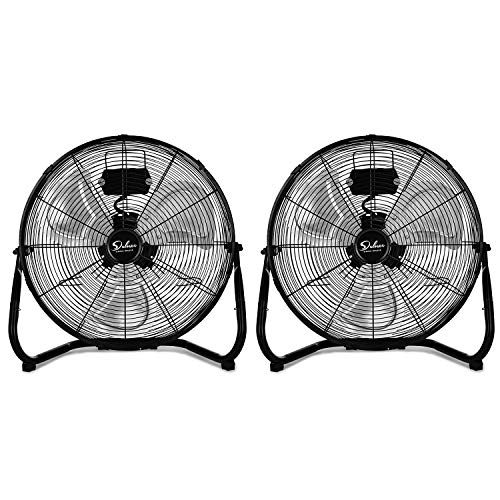 Simple Deluxe 18 Inch 3-Speed High Velocity Heavy Duty Metal Industrial Floor Fans Oscillating Quiet for Home Commercial, Residential, and Greenhouse Use, Outdoor/Indoor, Black, 2 Pack