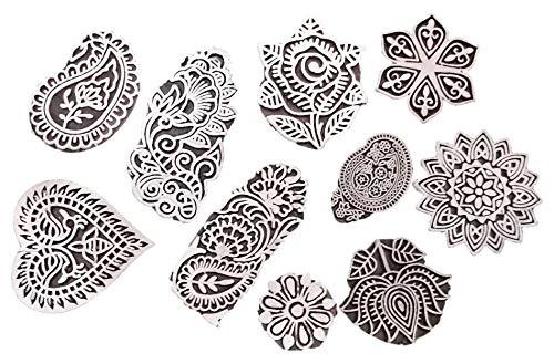 jgarts Printing Briefmarken Mughal Design Holz Blocks (Set von 10) handgeschnitzt für Frauengewand Border, um Keramik Crafts Textil Druck handgefertigt Indien