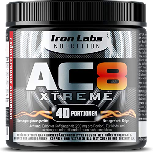 AC8 Xtreme Hadcor Pre Workout Booster Nahrungsergänzungsmittel MAXIMUM STRENGTH Pre-Workout Booster, 40 Portionen, 306 g (Frucht-Punsch)