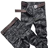 Shuangklei Men s Camouflage Cargo Pants Casual Cotton Multi Pockets Military Tactical Pants Streetwear Overalls Work Combat Long Trousers-44_Black_Camo