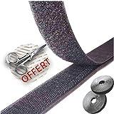 Générique Velcro Autocollant Noir 6M + Ciseaux Scratch Double Face Bande a Coudre adhésif pour Tableau tapie Sonnette sans percer Attache Photo