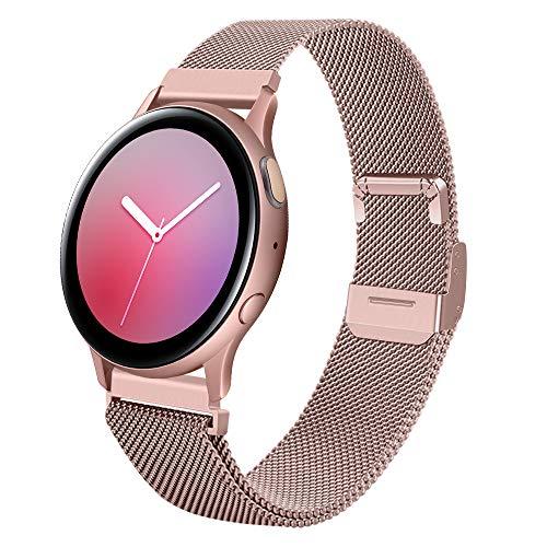 correa 22mm metal de acero inoxidable correas brazalete repuesto compatible con samsung galaxy watch 45mm 46mm/ gear s3 frontier/gear classic/smartwatch pulseras,Malla rosa