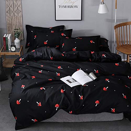 Mushroom Bedding Set Queen Size Girls Cute Mushrooms Decor Duvet Cover Reversible Kawaii Cartoon Botanical Plants Comforter Cover Kids Teens Black Bedspread Cover (1 Duvet Cover + 2 Pillow Case)