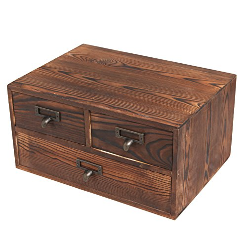 Small Rustic Dark Brown Wood Office Storage Cabinet/Jewelry Organizer w/ 3 Drawers - MyGift