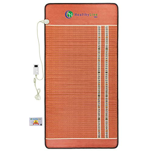 """HealthyLine Far Infrared Heating Pad - Firm Mat Filled with Amethyst, Tourmaline and Obsidian Crystals - Negative Ion Therapy, EMF Blocking, Pain Relief - 80"""" x 40"""""""