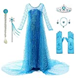 Yigoo Disfraz de princesa para niña, vestido brillante, disfraz de Navidad, carnaval, fiesta, Halloween, con corona azul, 110