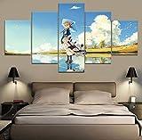 Das Mädchen Auf Dem Meer Violett Evergarden Anime Hd Print Malerei Wohnkultur 5 Stück Gemälde Moderne Leinwand Malerei Wand zimmer(With Frame size)