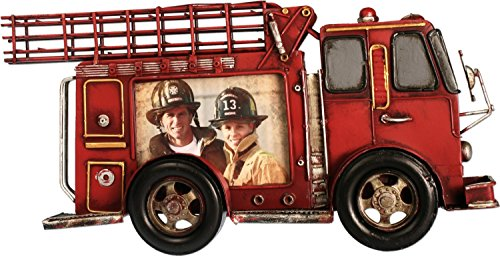 Rahmen Feuerwehr 35 cm 3D Feuerwehrauto Metall Bilderrahmen