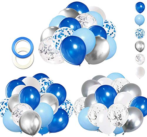 62pcs Blue Silver White Confetti Balloons Kit, 12 Inch White Royal Blue Balloons Metallic Silver Balloons Blue Sliver Confetti Balloons for Boy Birthday Baby Shower Graduation Party Supplies