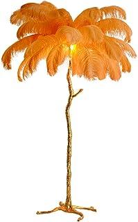 lampadaire Lampe de plancher nordique avec veille de plumes d'autruche pour la lumière d'éclairage intérieur de cuivre déc...