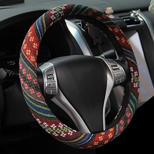 AOTOMIO 15 inch New Baja Steering Wheel Cover for Car Fit Most Cars Automotive Flower Ethnic Style Coarse Flax Cloth Universal