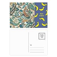 クラシックブルー/オレンジ抽象的な魚のパターン バナナのポストカードセットサンクスカード郵送側20個