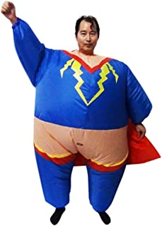 SALVATORE ANGELOTTI Super Hero Fancy Dress Inflatable Suit - Fan Operated Costume * One-Size-Fits-All with Compact Fan Uni...