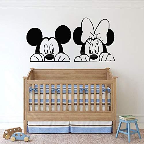 Pegatinas de pared de ratón creativo de dibujos animados de Anime, dormitorio de dibujos animados para niños, habitación de bebé, decoración del hogar, vinilo, ventana, calcomanía, mural lindo