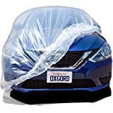 Plastic Car Covers for Automobiles (Pack of 5) Disposable Cover w/ Elastic Band - Universal 12' x 22' Feet Automotive Accessories Best for Temporary Dust Rain Over-Spray Paint Protective Clear Tarp