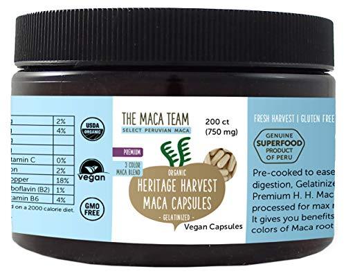 Premium Maca Wurzel Kapseln, gelatiniert – 750 mg, 200 Ct – bio- zertifiziert, frische Ernte aus Peru, Fair Trade, gentechnikfrei, vegan