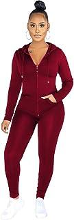BOYYANGCHF Women's 2 Piece Outfit Activewear Casual Long T-Shirts Pants Workout Tracksuit Sportswear Sweatsuit wine red XXL