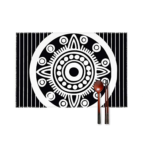 Stylish Place Mats Set of 4 Circle Visual Arts Design Rectangle Non-Slip Insulation Table Desk Protector Mats Easy Wipe Clean Placemats for Home Kitchen Round Dining Table Mats 18'X12'