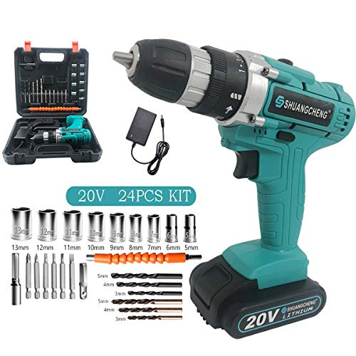 Best Review Of Cordless Electric Drill with 24-Piece Accessories 25+1 Torque Setting,20v MAX Lithium-Ion Drill/Drive 2 Speed Electric Drill with LED Work light