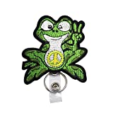 Green Peace Sign Frog Hippie Badge Reels Retractable, with Alligator Clip and Key Ring, 24 inches Thick Pull Cord