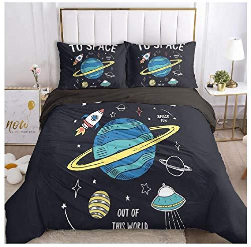 BAIYANG Bedding Set For Boys Baby Kids Child Duvet Cover Set Pillowcase Comforter Blanket Quilt Cover 3D Bedclothes Astronaut Single(135x200cm)