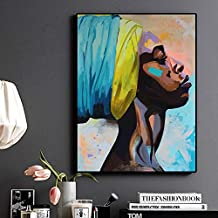 KFEKDT Contemplator African American Portrait Oil Painting on Canvas Posters and Prints Scandinavian Art Wall Picture for Living Room C 50x70CM