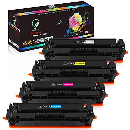 Gootior 203X 203A tonercartridges, compatibel voor HP CF540A CF541A CF542A CF543A CF540X voor HP Color Laserjet Pro MFP M281fdw M254dw M280nw M254nw M281fdn M254dn M281cdw, multipack, 4 stuks