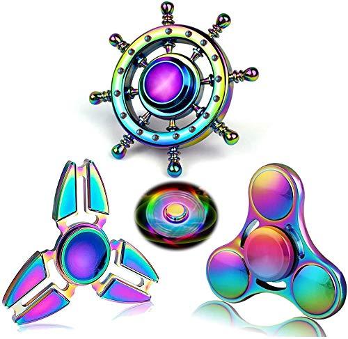 Rainwbow Snitch Fidget Dedos Spinners de mano Metal Focus Fidgets Juguete de acero inoxidable Gyro Alivio del estrés Cubo divertido espiral TDAH EDC Anti ansiedad Regalos para niños y adultos