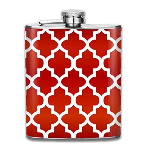 Petaca de acero inoxidable portátil de 7 onzas de petaca de color rojo y blanco profundo, con forma de cuatrefoil para licor, whisky, vino y vino, para escalar, camping, barbacoa, fiesta, bebedor