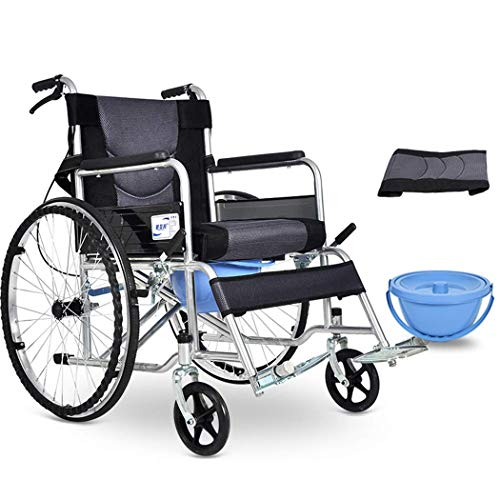 LLT Praktische Toilettenstuhl Benutzerfreundliche Rollstuhl, Steel Pipe Transport Rollstuhl, Medical Dusche Commode Mobil Stuhl, Maximale Belastung 100 Kg, Ältere/Schwangere Frauen/Behinderte,Gra