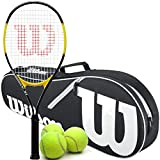 Wilson Energy XL Pre-Strung Recreational Tennis Racquet Set or Kit Bundled with a Black/White Advantage 2-Pack Tennis Bag and a Can of Tennis Balls