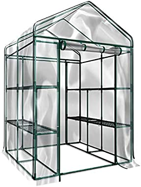 Home-Complete HC-4202 Walk-In Greenhouse- Indoor Outdoor with 8 Sturdy Shelves-Grow Plants, Seedlings, Herbs, or Flowers In A