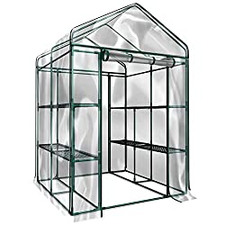 Home-Complete HC-4202 Walk-In Greenhouse- Indoor Outdoor with 8 Sturdy Shelves-Grow Plants, Seedlings, Herbs, or Flowers In Any Season-Gardening Rack - Greenhouse Kit