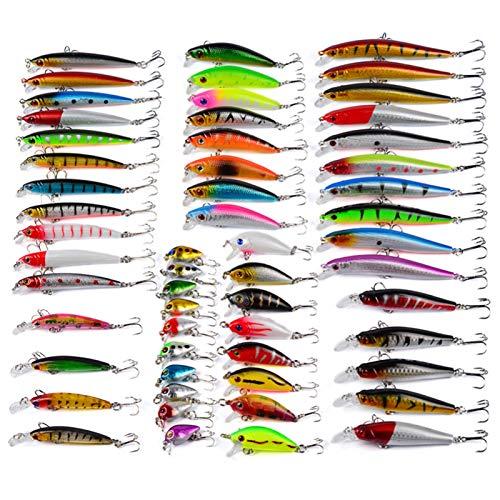 DSENIW Señuelos De Pesca para Lubina 56 Classic Lure Bait Crank & Minnow Set Hard Bait Mixed para Bass Fit Agua Salada Y Agua Dulce,56 pcs Fishing Lures Kit
