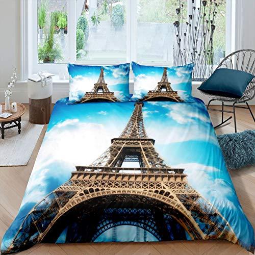 Juego de cama con 2 fundas de almohada, diseño de coronas de la Torre Eiffel en el cielo azul