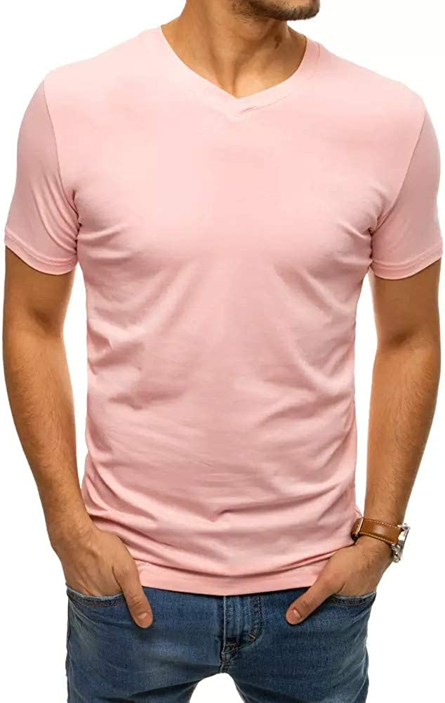 Hongqizo Men V Neck Short Sleeve T Shirts Solid Color Basic Cotton Tees Casual Top