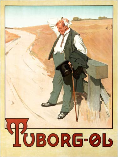 Posterlounge Holzbild 60 x 80 cm: Tuborg-Øl – Der durstige Mann (Dänisch) von Erik Henningsen