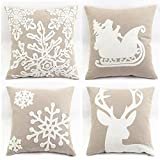 WOMHOPE Pack of 4 Christmas Pillow Covers Embroidery Sleigh Snowflakes Winter Decorative Square Cushion Covers Shells 18 X 18 Inches for Bed,Sofa,Couch (B (Set of 4) Griege)
