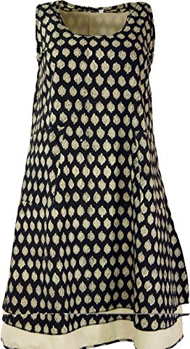 GURU SHOP Lagenkleid Blockdruck, Indische Tunika, Maxitunika, Damen, Schwarz/beige, Baumwolle, Size:XL (46), Lange & Midi-Kleider Alternative Bekleidung