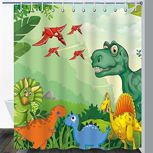 Gdmoon Cartoon Dinosaurier Duschvorhang Tropische Palme Pflanze Zoo Wald Dschungel Tier Stoff Badezimmer Vorhang-Set Wasserdicht 183 x 183 cm YLWHGD874