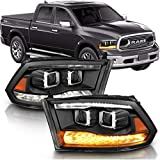 AmeriLite Black Dual Projector Headlights Assembly Switchback Dual LED Bar Parking Turn Signal for 2009-2018 Both Model Dodge Ram 1500 2500 3500 Pickup Truck - Passenger and Driver Side Set