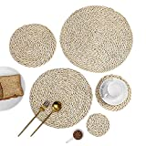 Wertytut A Set of Heat Insulation Pads,Wear-Resistant Durable Corn Husk Table Mat Heat Insulation Pot Holder,Non-Slip Tablecloth Coasters