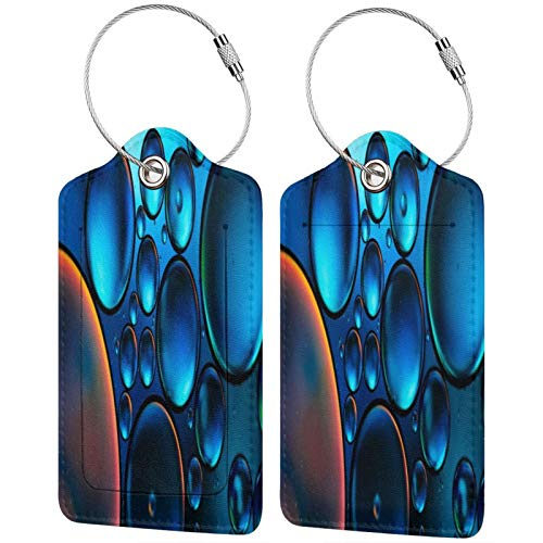 FULIYA Set of 2 Secure Luggage Tags High-end Leather Suitcase Luggage Tags Business Card Holder/Travel ID Bag Tag,Bubbles, Oil, Liquid, Macro