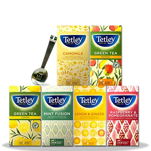 Tetley Tea Bag Variety Fruit and Herbal, Green, Mint Fusion, Pomegranate, Camomile, Lemon & Ginger, Mango - 6 Pack x 25 Envelopes (150 Total) Bundled with 1 x Stainless Steel Tea Strainer Spoon