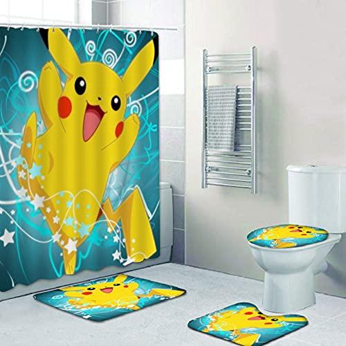 Electrified Mouse 4PCS Shower Curtain Sets Pikachu Non-Slip Rugs Toilet Lid Cover Bath Mat 12 Hooks Waterproof Cool Bathroom Decor